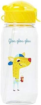 Draeger – Botella para niños con pajirafa – Botella reutilizable con ilustración – Botella infantil – Sin BPA – apta para lavavajillas