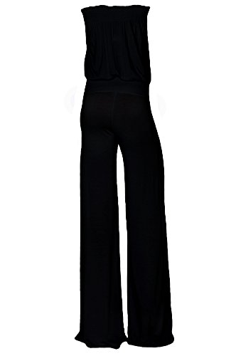 Womens Fashion Strapless Wide Leg Smocked Tube Casual Jumpsuit USA BK XL