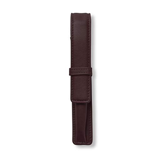 Single Pen Case - Full Grain Leather Leather - Brown (Grain Leather Single)