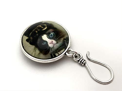 Blue Eyed Cat Portuguese Knitting Pin- ID Badge Holder