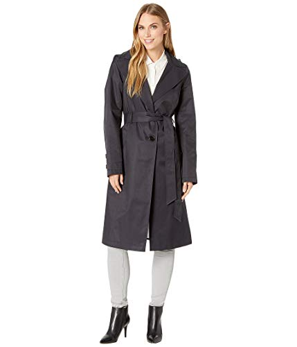 (Via Spiga Women's Long Hooded Belted Trench Coat with Faux Leather Detail Navy X-Small )