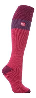 Heat Holders Women's Thermal Long Ski Socks Size 5-9 US Raspberry/Purple/Fuchsia