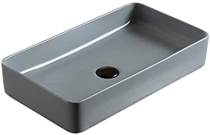 DS- バスルームの洗面台、家庭セラミックカウンター流域簡単セメントグレー技術流域(タップ無し)単一流域、利用可能な2つのサイズ 洗面ボール && (Size : 60X35X11cm)