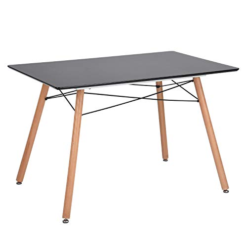 GreenForest Dining Table Rectangular Top with Wooden Legs Modern Leisure Coffee Table 44'' x 28'' Compact Size Black