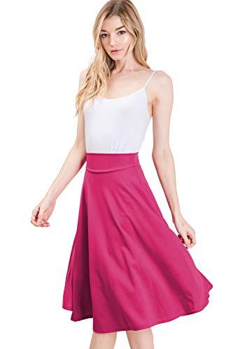 CLOVERY Versatile Elastic Waist Flared Midi Skater Skirt (Plus, Fuchsia S