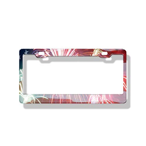 W Tactical License Plate Frame - Front and Rear License Plate Protection Frame Automatically Marks 6x12 inches. Flag_Fireworks Happy Birthday America_