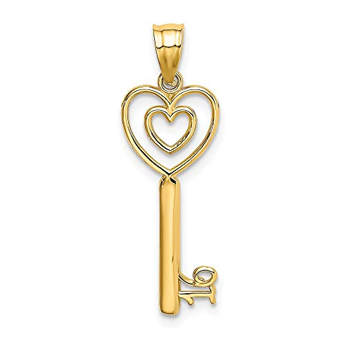 14k Yellow Gold Key Heart Sweet Sixteen Girl 16 Birthday Pendant Charm Necklace Fine Jewelry Gifts For Women For Her