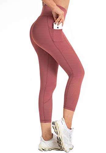 Raypose Womens High Waist Workout Capris Leggings w Pockets Running Capri High Waisted Tummy Control Yoga Pants Non See Through for Fitness 785-Pink-S