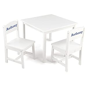 Amazon.com: KidKraft Aspen Table and Chair Set White with Blue Serif ...