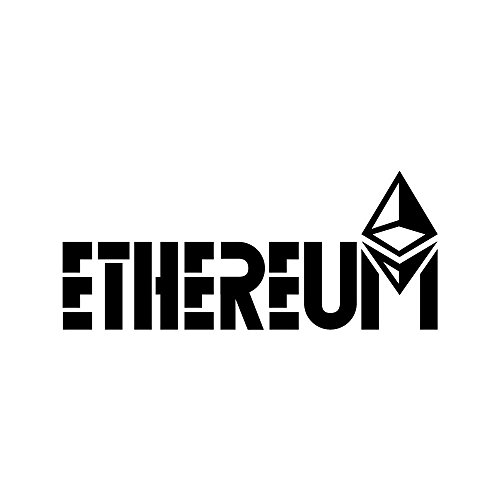 Ethereum Symbol (Design #3) Vinyl Die-Cut Decal Sticker for Car, Notebook, Computer, Window or Wall (6″x2.5″, black)