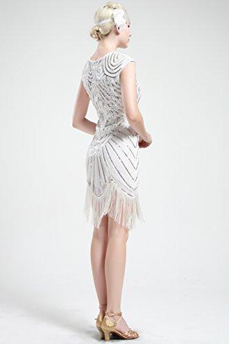 Gatsby 20 BABEYOND 1920s Dress Vestito 1920s Bianco Frange Dress Abito Vestito Donna Paillette Gatsby Donne Vestito Flapper Senza Maniche Anni Sera da Impreziosito qqwr0fUt