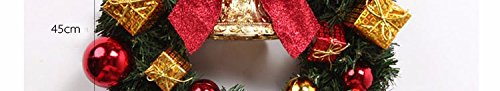 Christmas Garland for Stairs fireplaces Christmas Garland Decoration Xmas Festive Wreath Garland with Golden Christmas ball butterfly knot gift wrap Bell wreath Christmas,60cm