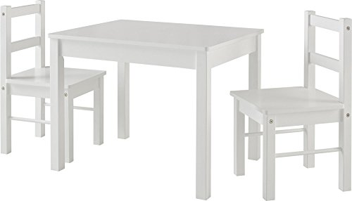 Ameriwood Home Hazel Kid's Table and Chairs Set, White (Chairs Set White Table And)