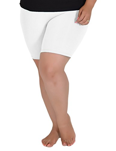 Stretch is Comfort Women's Cotton Plus Size Bike Shorts White 3XL