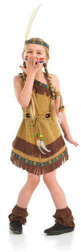 Indian Squaw Costume Child (Indian Squaw Girls Childs Fancy Dress Costume - M 50inch Height)
