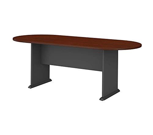 (Wood & Style Office Home Furniture Premium Series C 82W x 35D Racetrack Conference Table, Mahogany and Graphite Gray)