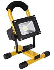 soled 10W Rechargeable Portable LED Work Light, AC Adapter and Car Charger Included, Waterproof, Outdoor Floodlight,Yellow