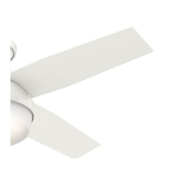 Hunter 59244 Dempsey Low Profile Fresh White Ceiling Fan With Light & Remote, 44 Inch 4 WhisperWind motor delivers ultra-powerful air movement with whisper-quiet performance so you get the cooling power you want without the noise you don't Reversible motor allows you to change the direction of your fan from downdraft mode during the summer to updraft mode during the winter For indoor use only, Low Profile housing is specially designed to fit flush to the ceiling and is ideal for use in rooms with low ceilings