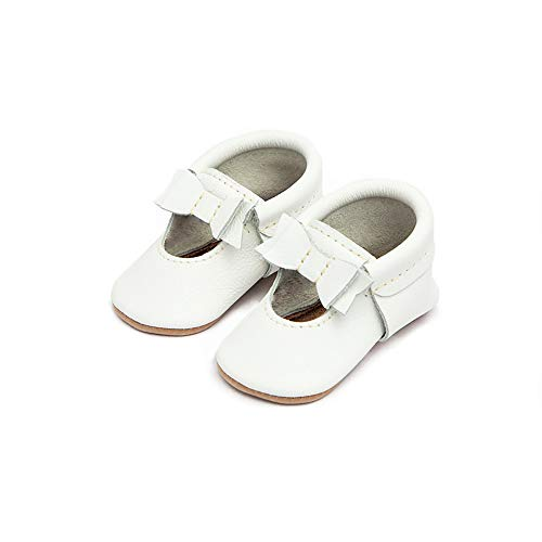 Freshly Picked - Soft Sole Leather Ballet Flat Bow Moccasins - Baby Girl Shoes - Size 2 Bright White (Picked Freshly)