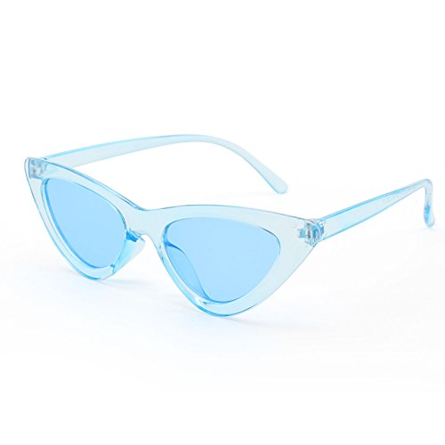 Livhò Retro Vintage Narrow Cat Eye Sunglasses for Women Clout Goggles Plastic Frame (Clear blue / blue)