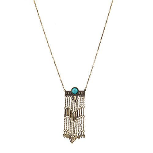Lux Accessories Boho Turq Stone Waterfall Pendant necklace