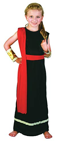 Girls or Boys Black Red Roman Toga School Fancy Dress Costume Outfit 4-14 years (10-12 years -