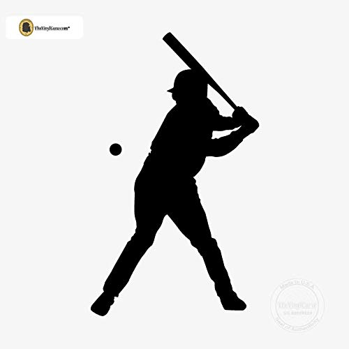 (TheVinylGuru - Baseball Wall Decal - Left Handed Batter Vinyl Art for Home Decor - Removable Giant Sticker - Sport Player Silhouette for Boys and Girls - Safe Outline Figure)