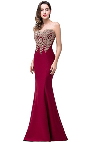 Women's See Through Sheer Tulle Sleeveless Burgundy Elegant Prom Dresses, 2, Burgundy