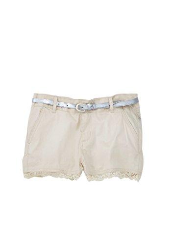 Glamour Belted Belt ([A33405-KHK-12] Chilipop Shorts for Girls, Belted, Stretch Poplin, Lace Trim,)