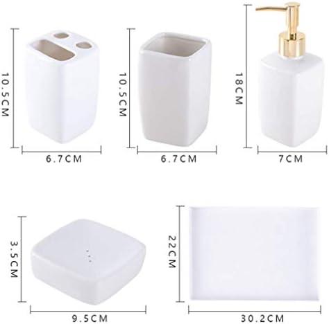 Vassoio e portasapone Porta spazzolino da Denti 2 Tazze Set con Dispenser di Sapone YWT Accessori da Bagno Bianchi 5 Pezzi Scatola di immagazzinaggio per Vasca Resistente