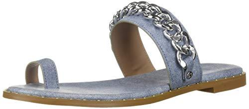 BCBG Generation Women's Zola Toe Ring Sandal Flat, Blue, 8 M US