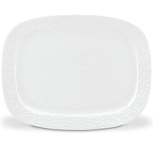 (Lenox Opal Innocence Carved Oversized Platter, White)