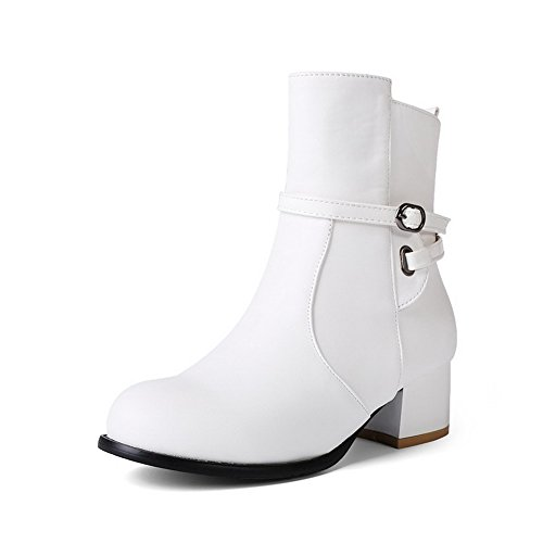AgooLar Women's Kitten-Heels Solid Closed Round Toe Soft Material Zipper Boots White eWnbe1YroX