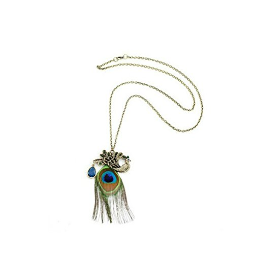 Vintage Exotic Bronze Colorful Peacock Long Feather Pendant Women - Peacock Bronze