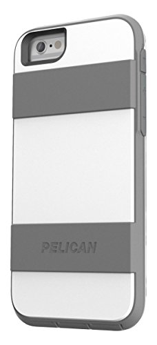 Pelican Voyager Rugged Case with Kickstand Holster for iPhone 6/6s - Retail Packaging - White & Gray