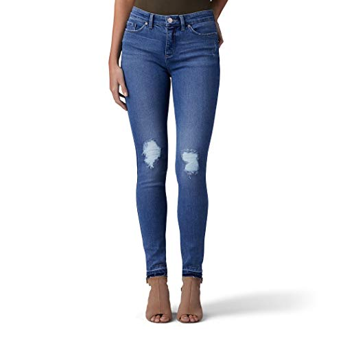 (LEE Women's Sculpting Slim Fit Skinny Leg Jean, Indigo Skye Destruction, 14 Long)