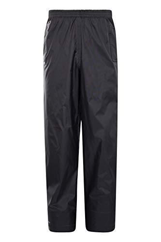 Mountain Warehouse Pakka Kids Rain Pants -Waterproof Packable Bottoms Black 11-12 years