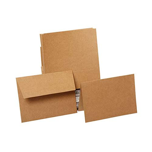 JAM PAPER Foldover Cards & Matching Envelopes Stationery Kit - 4 x 5 1/2 - Brown Kraft Paper Bag Recycled - ()