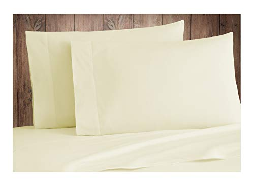 Tissaj 500-Thread-Count Organic Cotton Pillowcases Set - 500TC Standard Size Natural Color - 2 Piece Set - 100% GOTS Certified Extra Long Staple, Soft Sateen Weave - 4