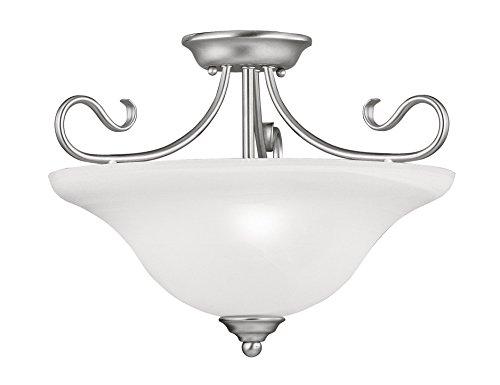 - Livex Lighting 6130-91 Coronado 3 Light Ceiling Mount, Brushed Nickel