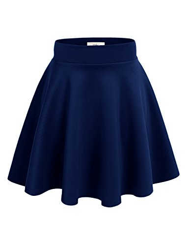 Simlu Women's A Line Flared Skater Skirt, Navy, Small -