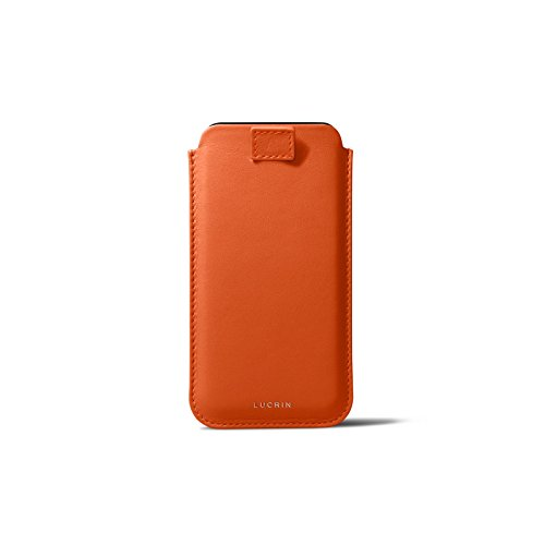 ❥ Lucrin - Leather Case with Pull Tab Compatible with iPhone XR and Wireless Charging - Orange - Genuine Leather orange iphone xr case 3