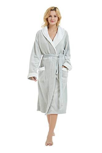 M&M Mymoon Womens Fleece Robe Long Soft Plush Winter Bathrobe Shawl Collar Homewear (L/XL, Light Grey/White)