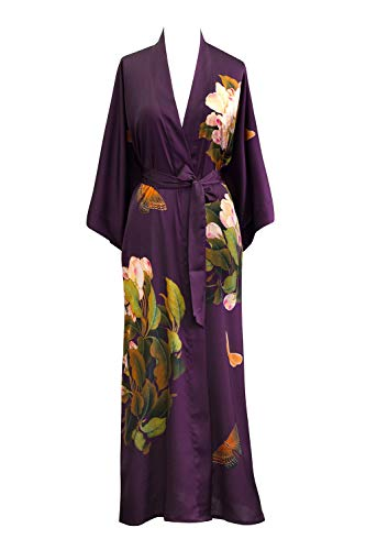 Old Shanghai Women's Kimono Robe Long - Watercolor Floral, peony & butterfly- plum, One Size