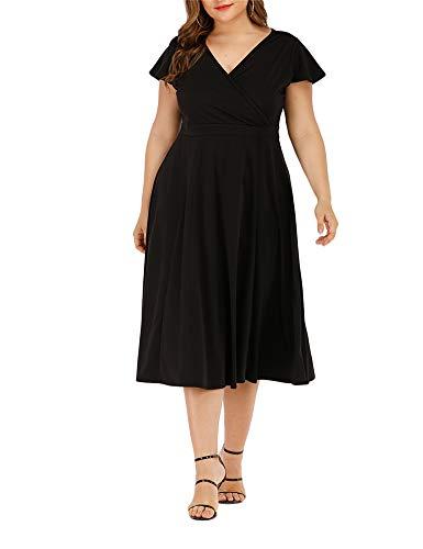Agmibrelr Women's Flutter Sleeve Dress Deep V Neck A-Line Swing Plus Size Midi Dresses Black XL ()