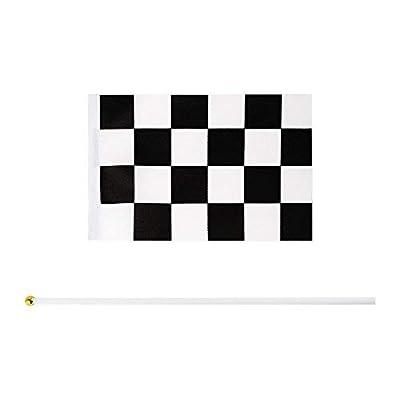 MX-Amigo 102 PC/Set Black White Checkered Racing Party Tablecover,Black&White Checkered Balloons Banner Flags Iclude 30PC Balloon Sealing Clip: Toys & Games