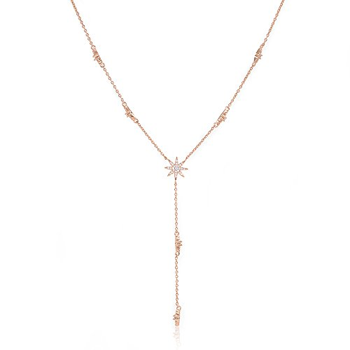 Lemon Grass Star Drop Y Shaped Lariat Necklace Plated with 14K Rose - Lariat Necklace Star