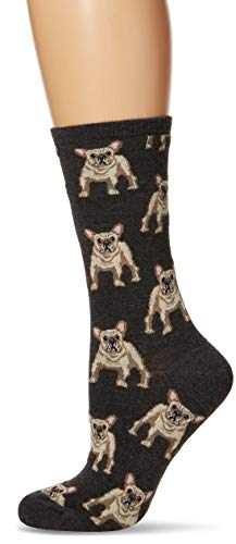 (Socksmith Women's Frenchie Socks,Charcoal Heather, One Size)