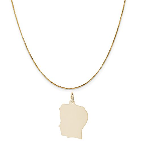 Rembrandt Charms 14K Yellow Gold Flat Boy Head Charm on a 14K Yellow Gold Curb Chain Necklace, 20