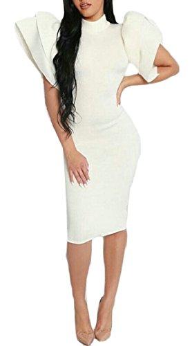 Bianco Sexy Bodycon Midi Solido Backless Donne Randello Jaycargogo Vestito Partito WzXqc76